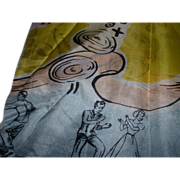 Vintage 1940's 1950's Dancing Couples Music Silk Scarf