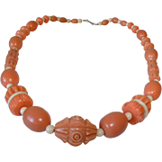 Bakelite Era - Coral Colored Galalith and Ivory Colored Carved Beaded Deco Design Necklace