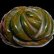 Vintage Swirled Green Hi-Carved Bakelite Floral Ring
