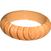 Vintage Carved Bakelite Cream Colored Bangle Bracelet