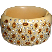 Vintage Spectacular Sexy Egg Color Topaz and Clear Rhinestone Wide Clamper Bracelet