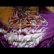 Vintage Western Motif Ride Em Cowboy NEW MEXICO State Scarf