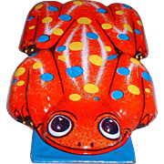 Vintage Tin Lithograph Colorful Frog Clicker Toy