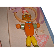 Vintage Binky Baby BAKELITE Crib Toy with Terry Cloth Bib MIB 1930's