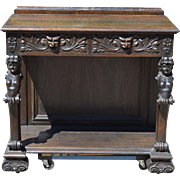 Carved Figural Oak Console Table / Server American 1890