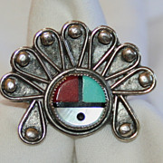 ZUNI Native American Ring Size 7 Sterling Silver