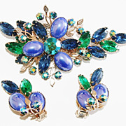 Cathe' Blue and Green Brooch and Earrings