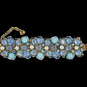 REDUCED Vintage Schiaparelli Aqua Blue Moonstone Open Back Rhinestone Very Wide Bracelet