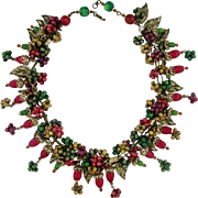 Vintage Miriam Haskell Wood Charms Fruit Grapes Necklace With Leaves