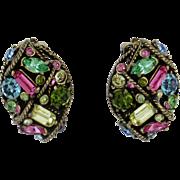 Vintage Hollycraft Pastel Rhinestone Earrings