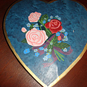Vintage  Heart Shaped Candy Box Painted Stripes and Flowers