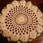SOLD Lovely Crocheted Cream and Green Doily With Double Border
