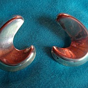 SALE Mexico Sterling  Silver Earrings Dimensional Crescent  Moon Large