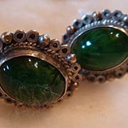 SALE Sterling Silver and Green Malachite Screw On Earrings: Mexico: Marked
