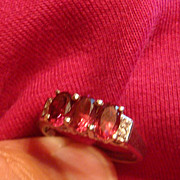 SALE Triple Pink Stones & Clear Rhinestone STERLING Silver Accent Ring Size 8 1/4-8 1/2