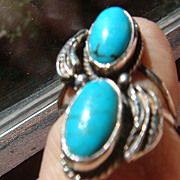SALE Native American Style Leaf and Double Turquoise Silver Ring Unmarked