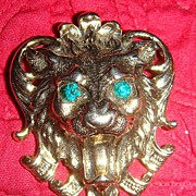 Lion's Head Figural Brooch With Big Emerald Green Eyes!