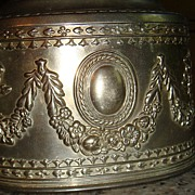 SALE Large Metal Jewelry Casket: Roses, Vines, Medallion
