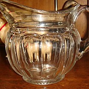 SALE Beautiful Paneled Clear Glass Pitcher Colonial Style