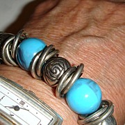 SALE Stretchy Bracelet Silvertone Rings, Marbled Turquoise Beads and Baubles