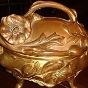 SALE Large Ornate Art Nouveau Jewelry Casket Gold Wash or Gold Gilt