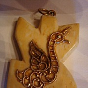 SALE Funky Chicken(or Duck) on Carved Bone Pendant