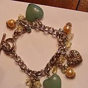 SALE Faux Jade Heart, Faux Pearl & Puffy Heart Charm Bracelet