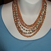 SALE Vintage Sautoir 10 Strand Bib Necklace: Chains, Beads & Faux Pearls