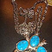 SALE Native American Squash Blossom Style Faux Turquoise Necklace Signed ART