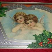 SALE Victorian Christmas Postcard Embossed Silver Framed Cherubs/Angels Printed in Germany