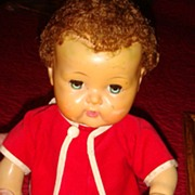 SALE American Character 1950's Tiny Tears Doll in Red Corduroy Romper & Jacket Still Cries