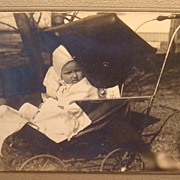 SALE Old Black & White Dorothy Wiemann Photograph Baby Vintage Baby Carriage / Buggy ...