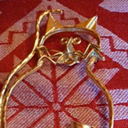 SALE Huge Goldtone Whimsical Vintage Brooch for Cat Lovers!