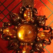 SALE Dangle Brooch / Pin Mesh Art Nouveau Cabochons & Rhinestones Golden Yellow Topaz or A