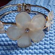 SALE Triple Dimensional Lucite & Rhinestone Flower Clamper Bracelet