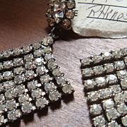 SALE Large and Beautiful Pierced Dangling Diamond Shaped Prong Set Clear Rhinestone Earrings P