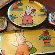 SALE 4 Vintage  Easter KESWICK England Fiberglass Trays Bunny Flower Pot