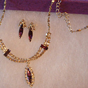 SALE Perfect for Prom or Wedding Silvertone Necklace & Earrings With Clear Rhinestones and ...