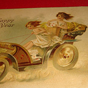 SALE Cool 1907 New Years Postcard 3 Victorian Delivery Girls or Cherubs Driving Coach Fast!