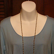 "48"" Flapper Length Grey Toned Faux Pearl Necklace With Metal Links"