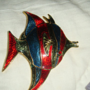 SALE Brightly Colored and Enameled Large Fish Pin Red, Blue, Teal or Turquoise