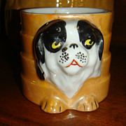 SALE Small But Adorable Child's Cup or Shaving Mug Pekingese Puppy Dog Japan Lustreware