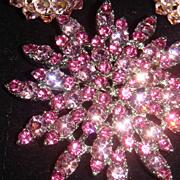 SALE Pink Starburst or Flower Brooch With Loads of BLING