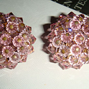 SALE Pink Crystal Clip Earrings Costume Jewelry