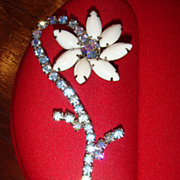 SALE 1950's  Long Bending Flower Brooch White Glass and Aurora Borealis