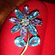 SALE Turquoise or Aqua Blue & Purple Rhinestones Flower Brooch from 1970's or 80's