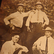 SOLD Early 1900's Photo 4 Cool Dudes Look at Those Hats and SKINNY Ties