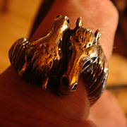 SALE Wonderful Duo Horse Sterling Silver Ring  Size 11, Figural Horse Heads for Lady or Gentle