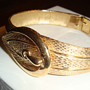 SALE Brushed & Shiny Goldtone Mesh Design Belt Buckle Clamper Bracelet