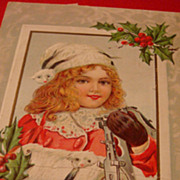SALE Early 1900's Christmas Postcard Adorable Girl Metal Skates lace Collar, Animal Fur Cap an